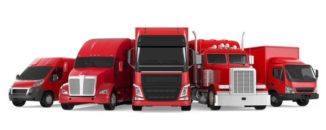 fleet of red semi trucks